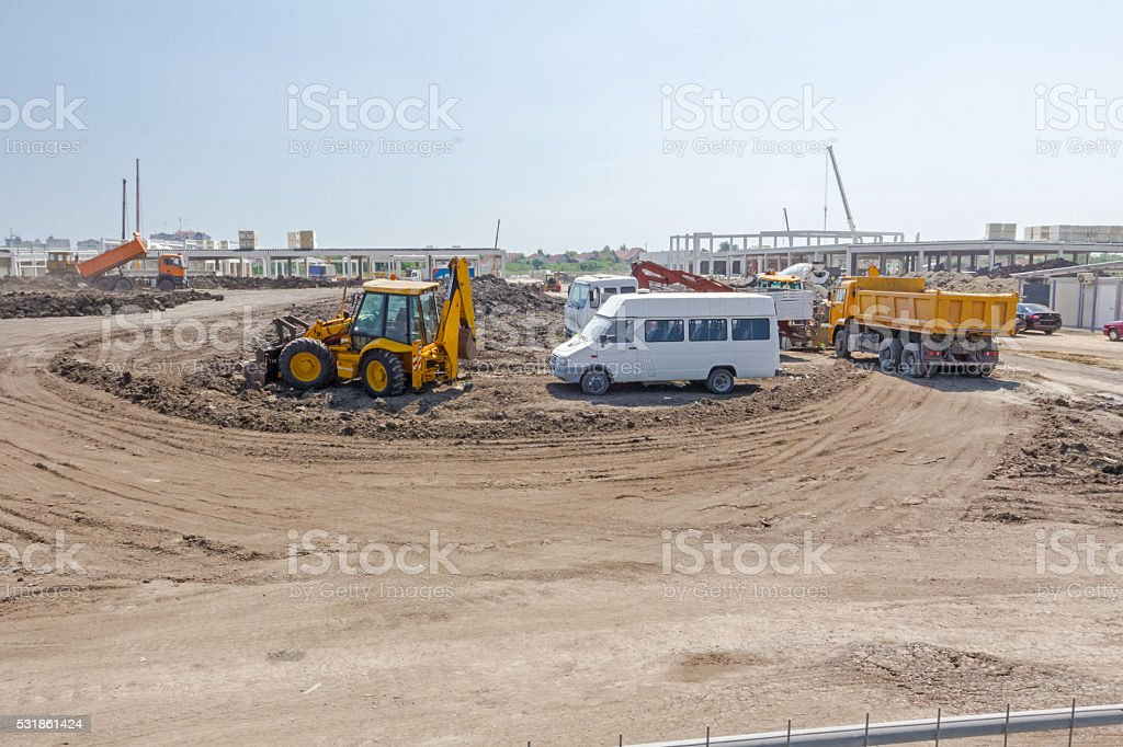 Parking at construction site. stock photo