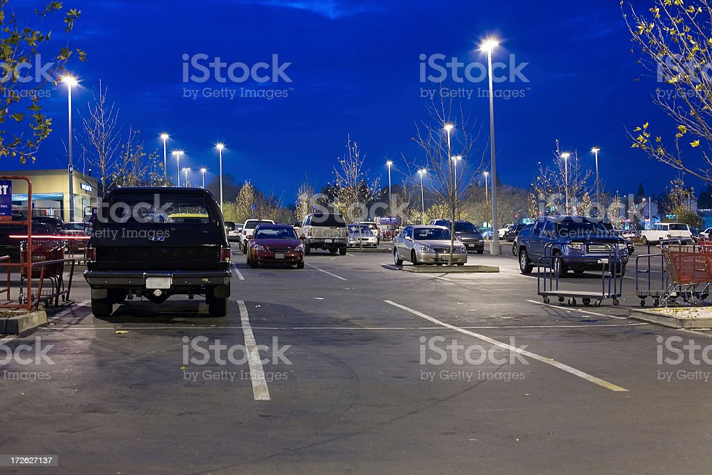 Parking at Night royalty-free stock photo
