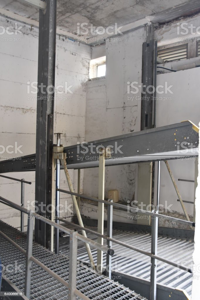 Parking cars on two levels stock photo