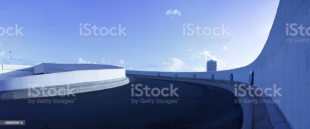 parking deck ramp panorama stock photo