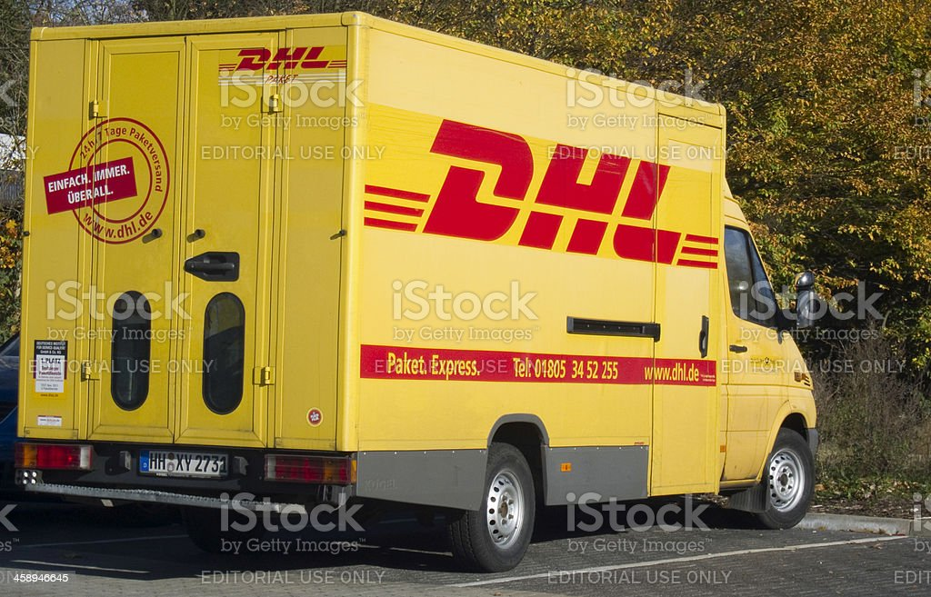 Parking DHL Delivery vehicle stock photo
