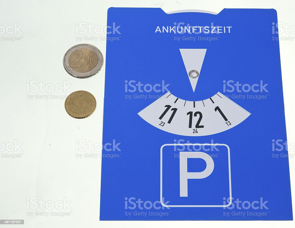 Parking disk stock photo