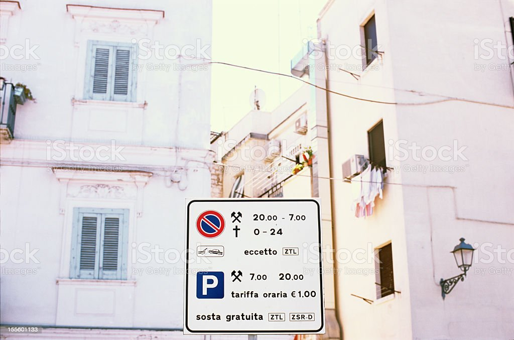 Parking fees, sign in the city centre (Bari, Italy) stock photo