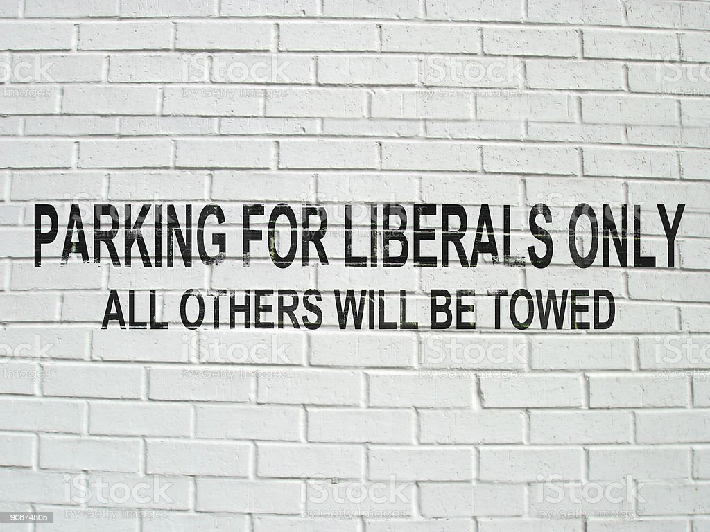 Parking for Liberals - Sign stock photo