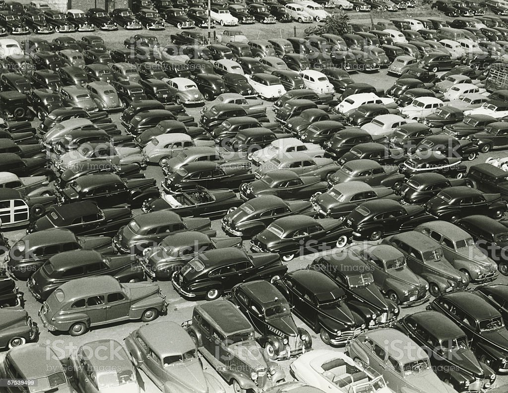 Parking full of cars, (B&W), (elevated view royalty-free stock photo