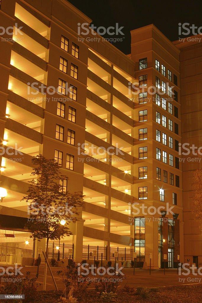 Parking Garage At Night, Dayton, Ohio royalty-free stock photo