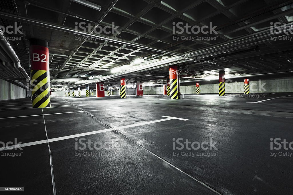 Parking garage, basement underground stock photo