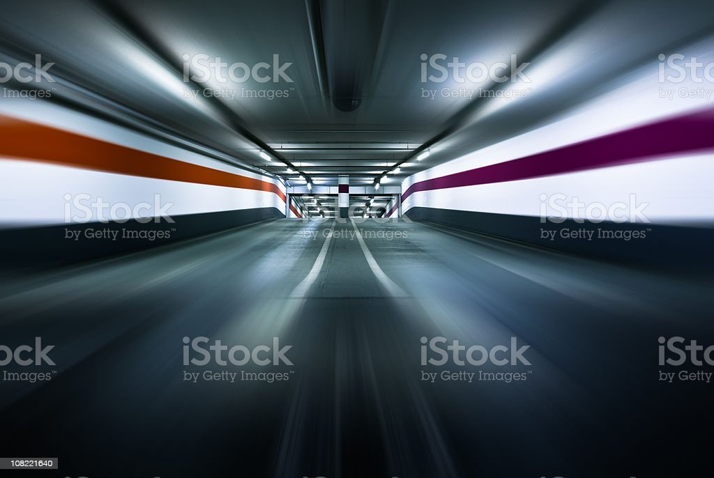 Parking garage motion royalty-free stock photo