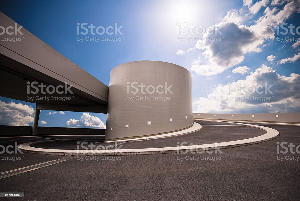 Parking garage road in the sky stock photo