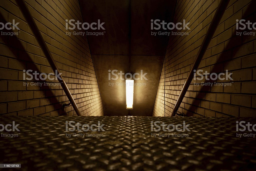 Parking Garage Stairs Leading to Basement stock photo