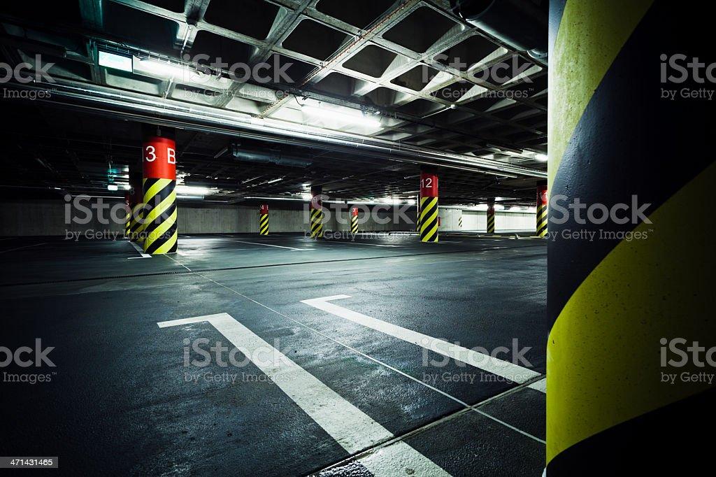 Parking garage underground interior royalty-free stock photo