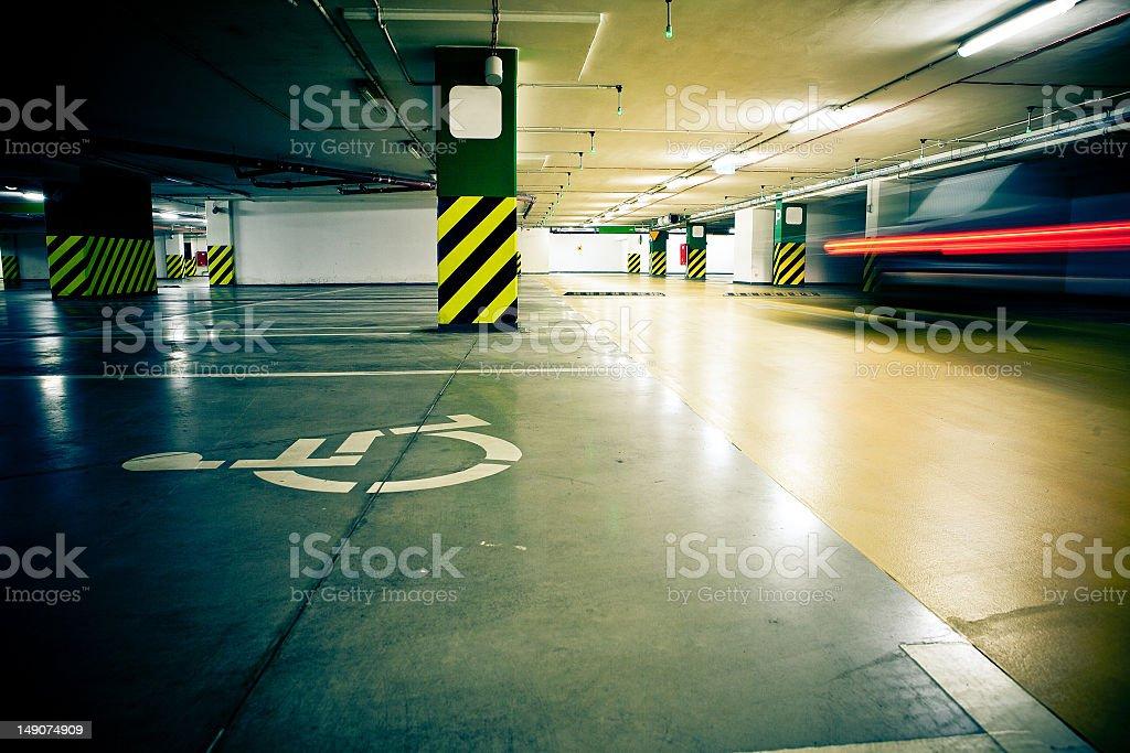 Parking garage, underground interior without cars royalty-free stock photo