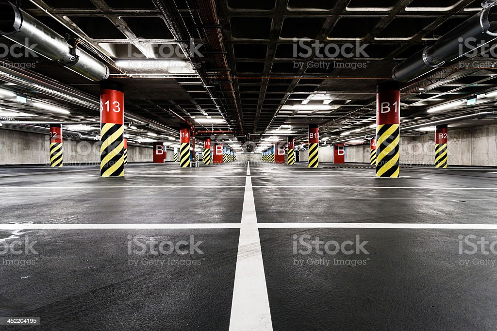 Parking garage underground with lines stock photo
