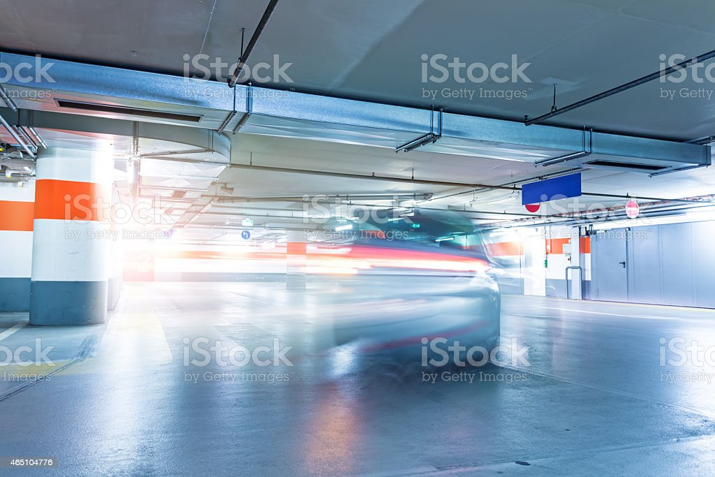 Parking Garage with car stock photo