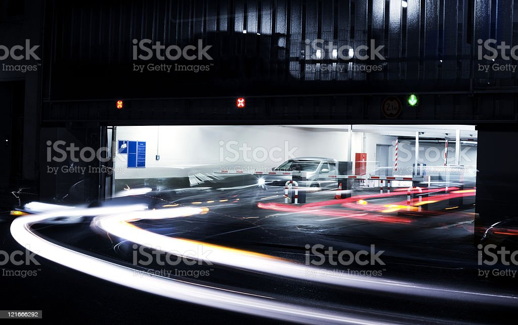 Parking garage's exit - blurred motion royalty-free stock photo