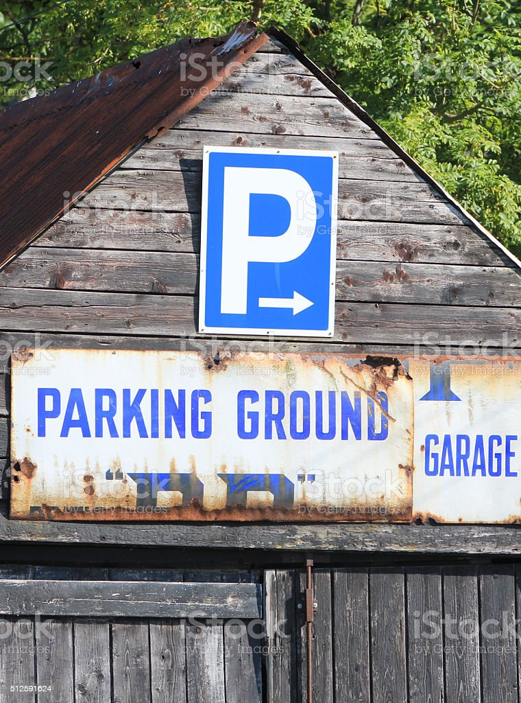 Parking Ground in New Quay, Wales stock photo