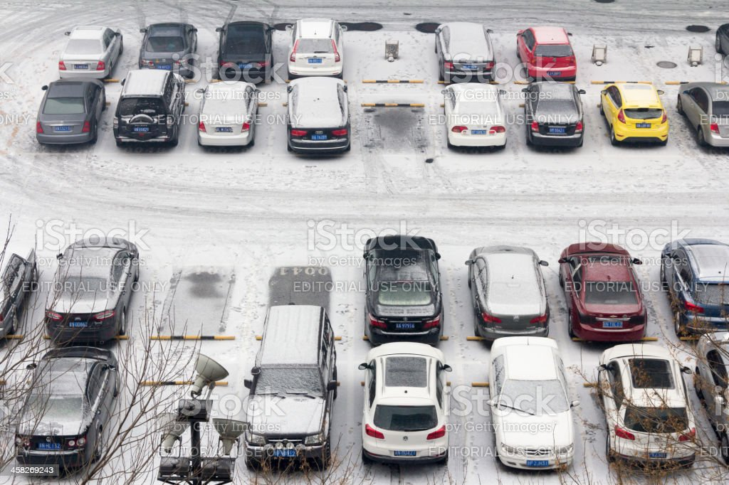 Parking in snowy weather royalty-free stock photo