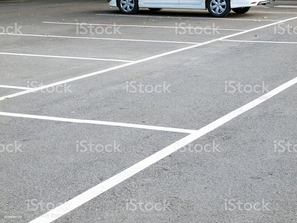 Parking lane outdoor in public park stock photo