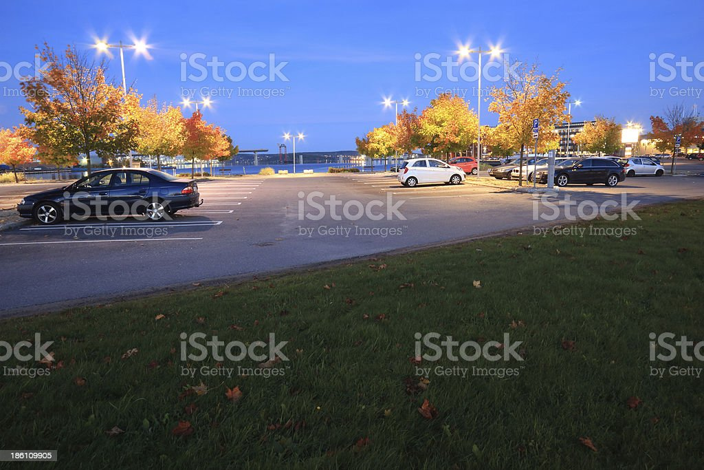 Parking lot and bridge construction over the bay of Sundsvall stock photo