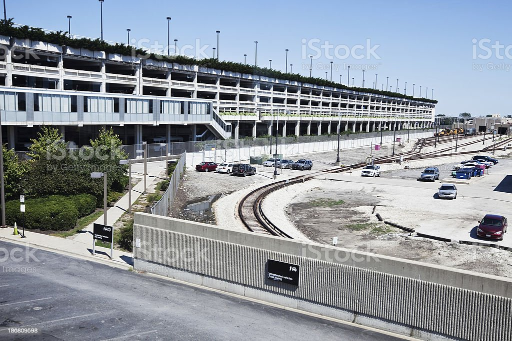 Parking Lot and Railway at Midway Airport stock photo
