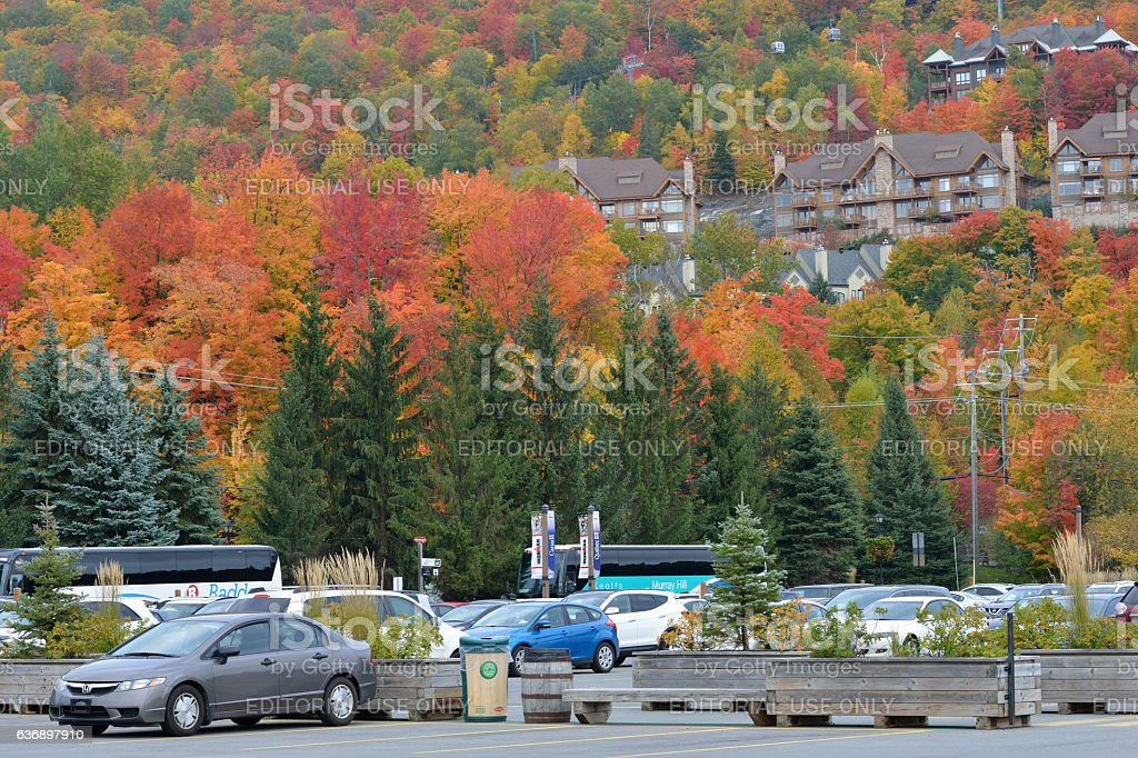 Parking lot at Mont Tremblant resort village stock photo