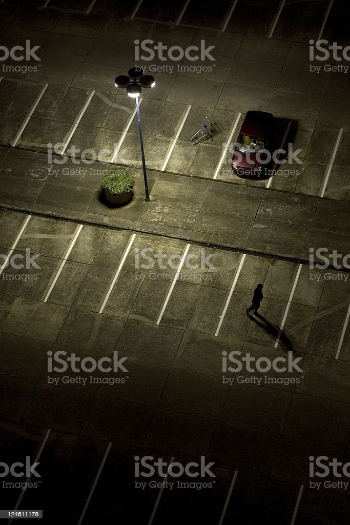 parking lot at night stock photo