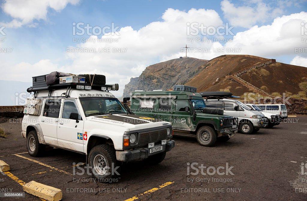 Parking lot at the Masaya volcano crater stock photo