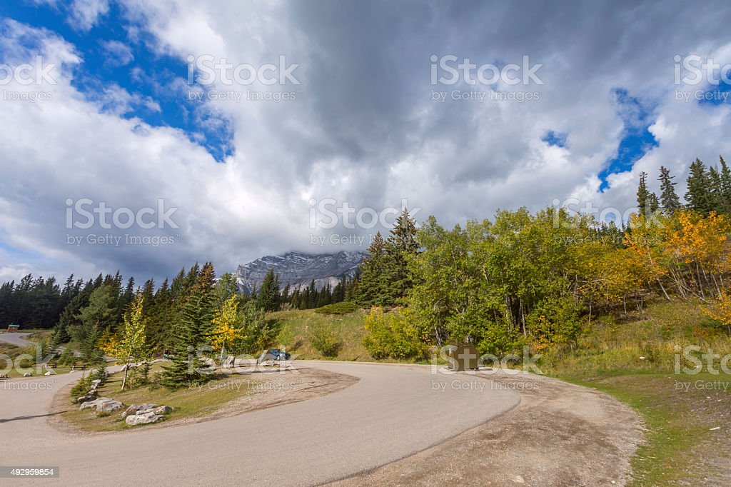 Parking Lot atTwo Jack Lake in Banff National Park, Canada stock photo