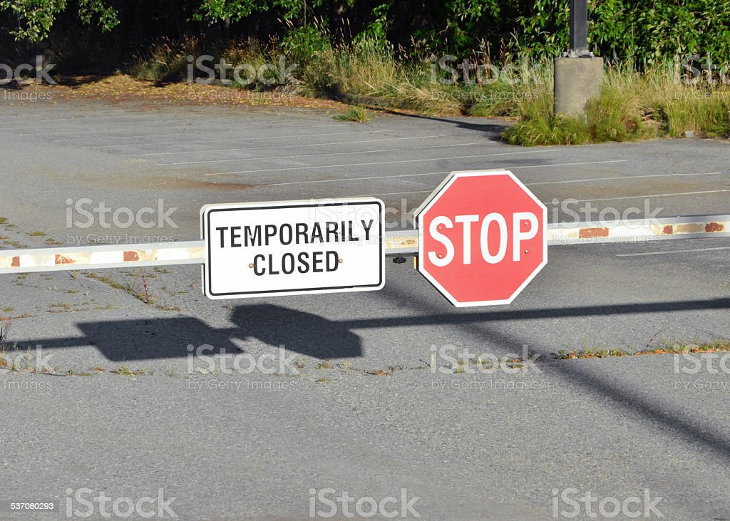 Parking Lot Closed stock photo