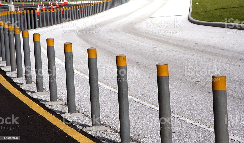 Parking lot dividing posts royalty-free stock photo