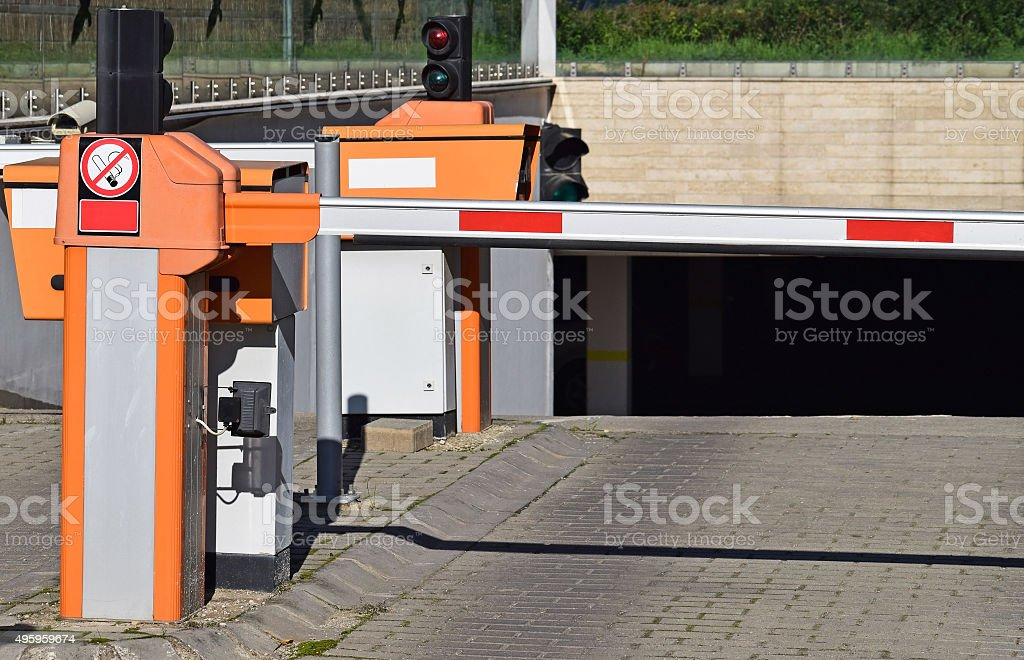 Parking lot gate stock photo