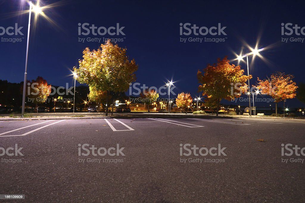 Parking lot in autumn at the harbour of Sundsvall stock photo