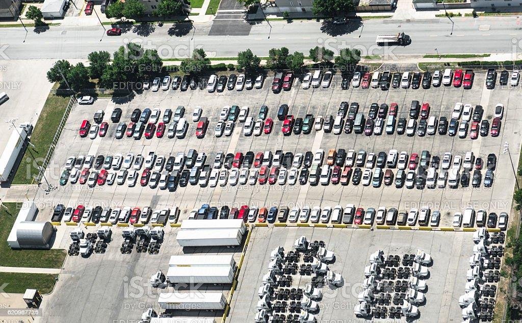 parking lot in Chicago stock photo