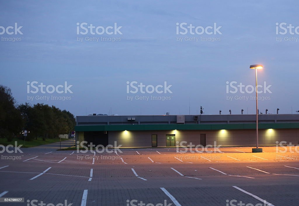 Parking Lot In Evening stock photo