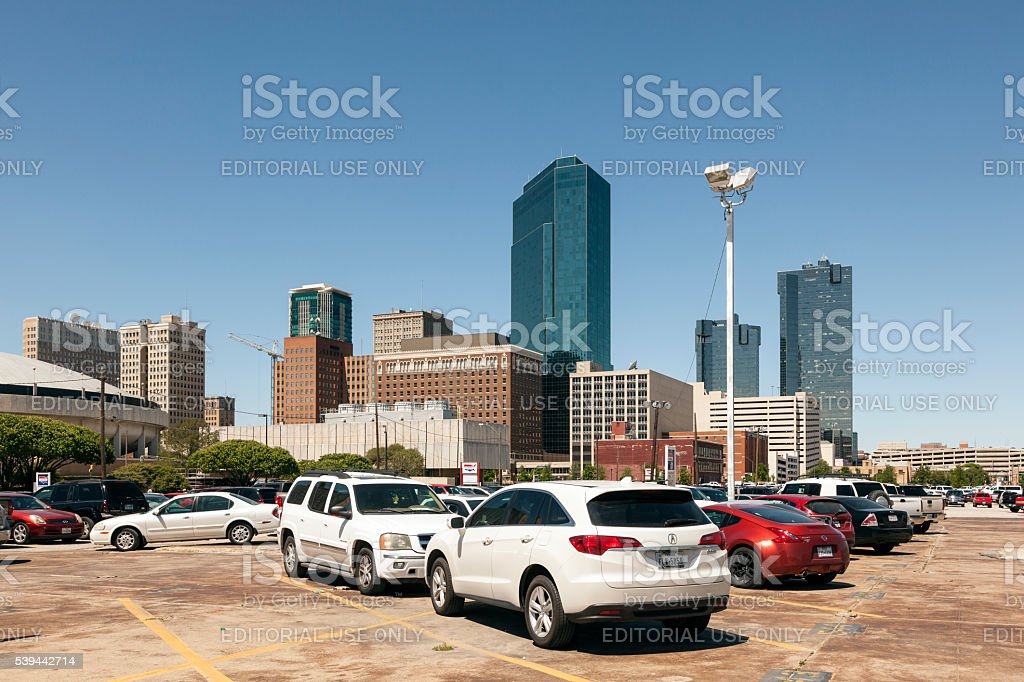 Parking lot in Fort Worth downtown stock photo