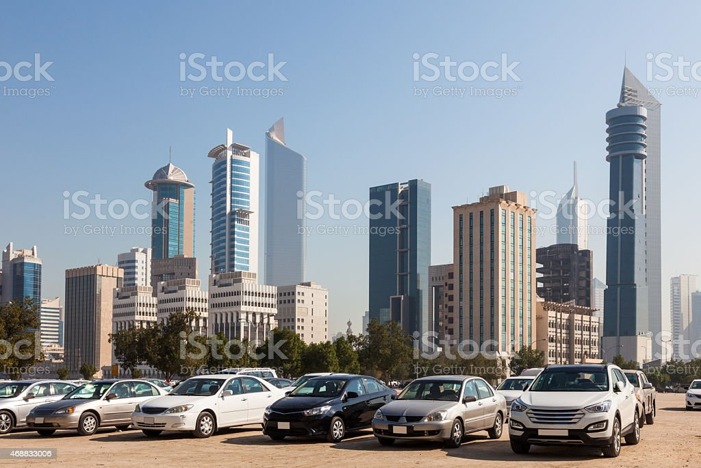 Parking lot in Kuwait City stock photo