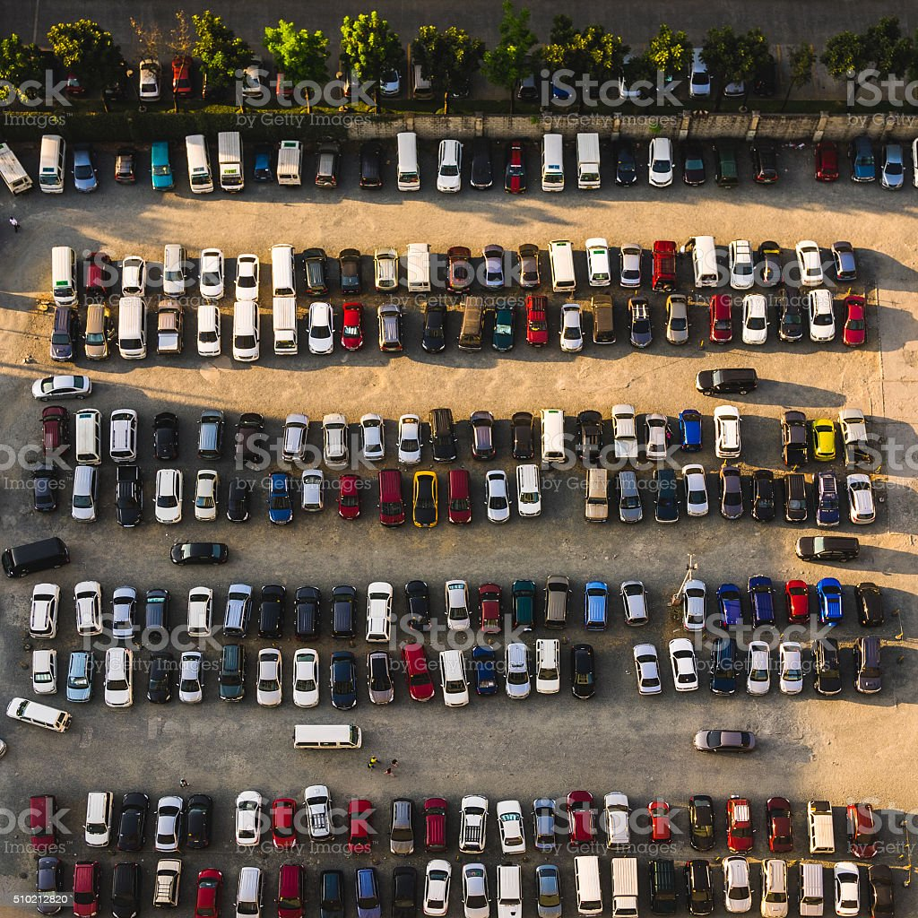 Parking lot in Metro Manila, Philippines stock photo