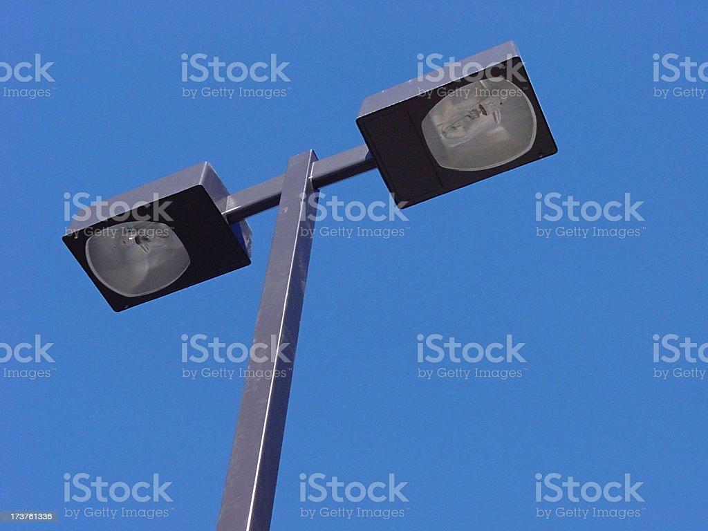 Parking lot light from below stock photo