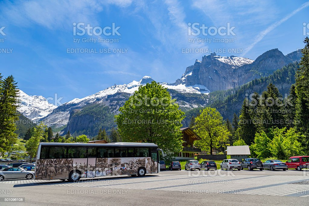 Parking lot near Kandersteg on Bernese Oberland in Switzerland stock photo