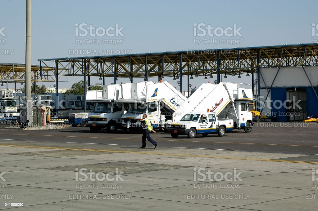 Parking lot of air ladders. Hurghada, Egypt stock photo