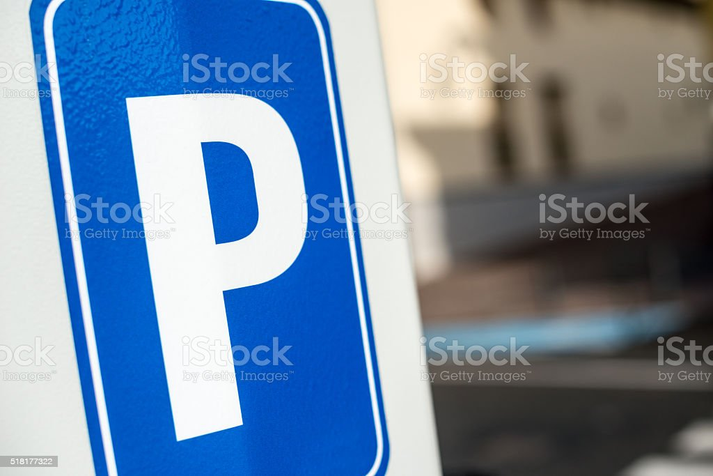 Parking lot P sign stock photo