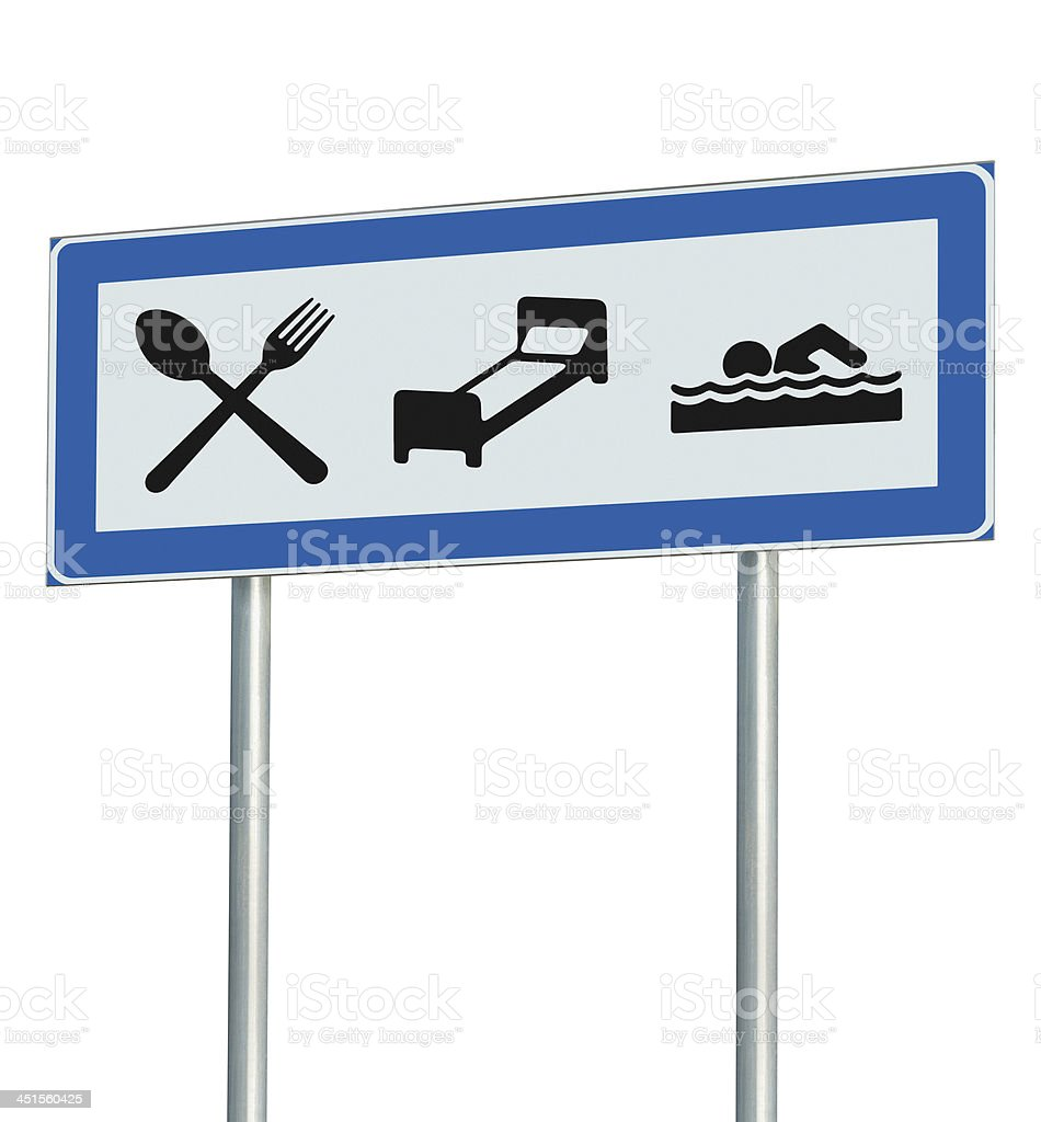 Parking Lot Road Sign Isolated, Restaurant, Hotel Motel, Swimming Pool stock photo