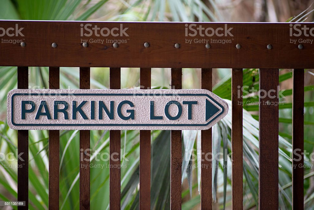 Parking Lot Sign with Arrow stock photo