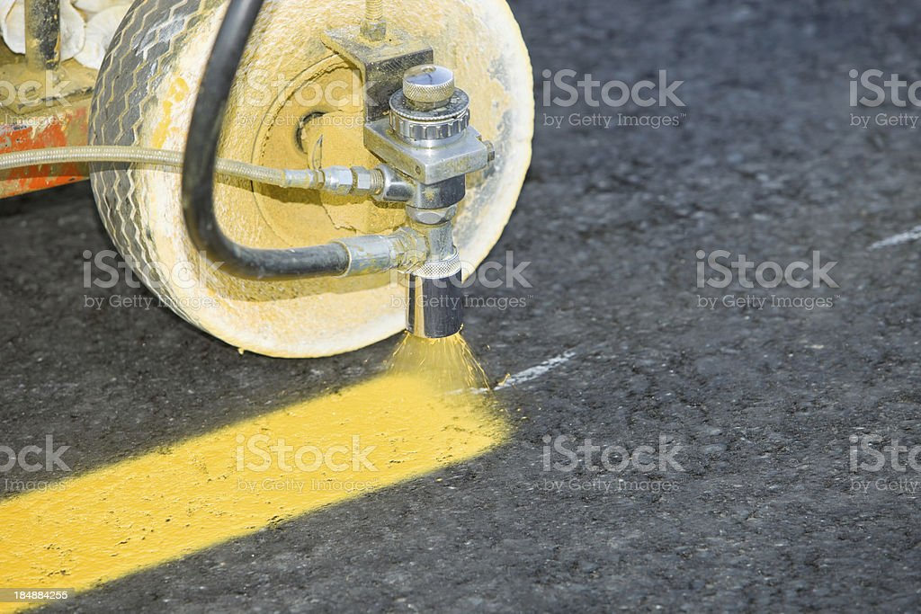 Parking Lot Stripe Painting on New Asphalt stock photo
