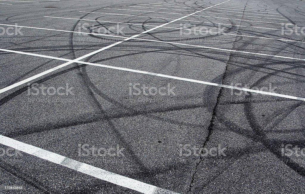parking lot tracks stock photo