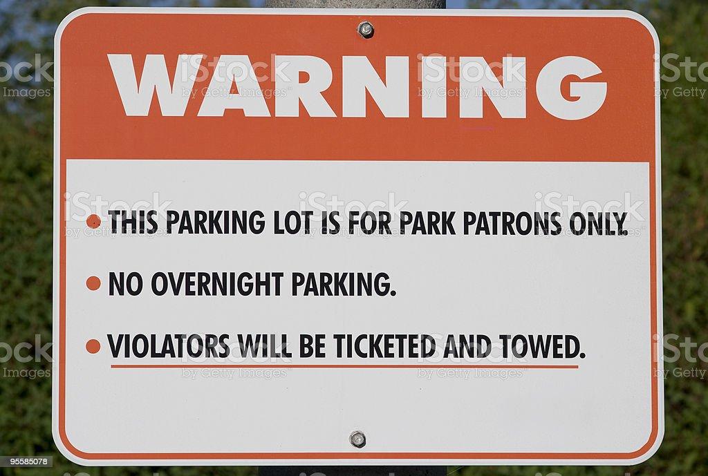 Parking lot warning stock photo