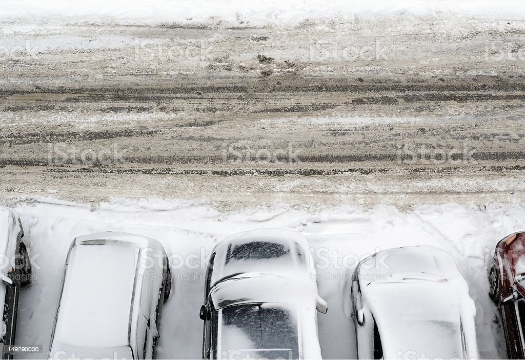 Parking lot with cars in snow stock photo