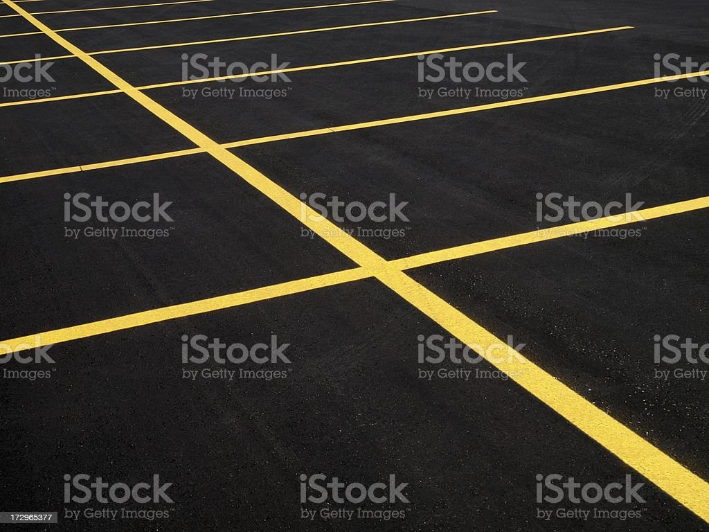 Parking lot with Fresh Pavement stock photo
