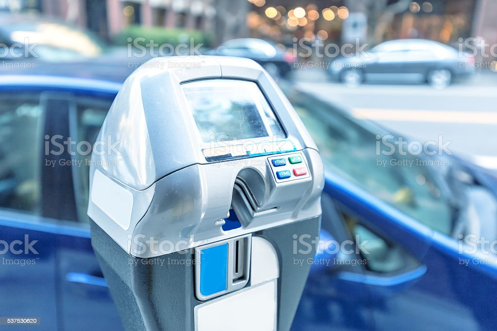 parking machine with electronic payment on road stock photo