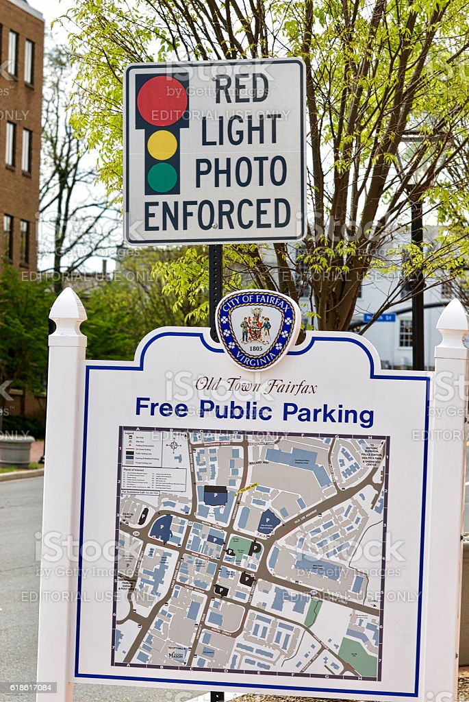 Parking Map, Red Light Photo Enforced, Old Town Fairfax, Virginia stock photo